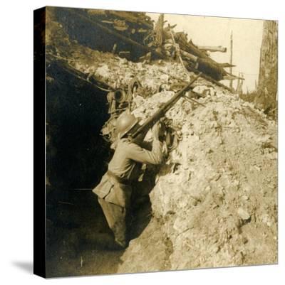Anti-aircraft firing using machine gun, c1914-c1918-Unknown-Stretched Canvas Print