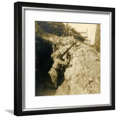 Anti-aircraft firing using machine gun, c1914-c1918-Unknown-Framed Photographic Print