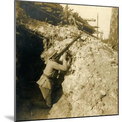 Anti-aircraft firing using machine gun, c1914-c1918-Unknown-Mounted Photographic Print