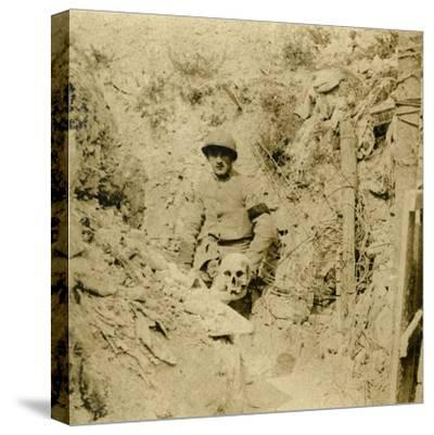 Skull found buried in the trenches, c1914-c1918-Unknown-Stretched Canvas Print