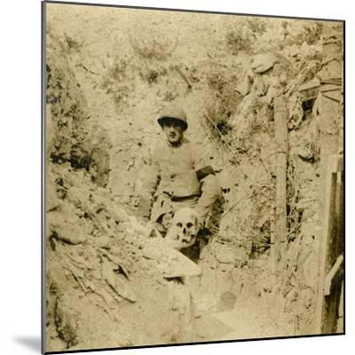 Skull found buried in the trenches, c1914-c1918-Unknown-Mounted Photographic Print