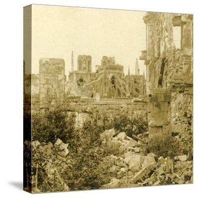 Reims Cathedral, Reims, northern France, c1914-c1918-Unknown-Stretched Canvas Print