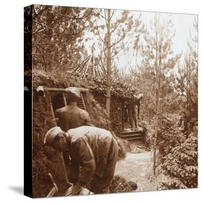 Soldiers in earth-covered shelters, Genicourt, northern France, c1914-c1918-Unknown-Stretched Canvas Print