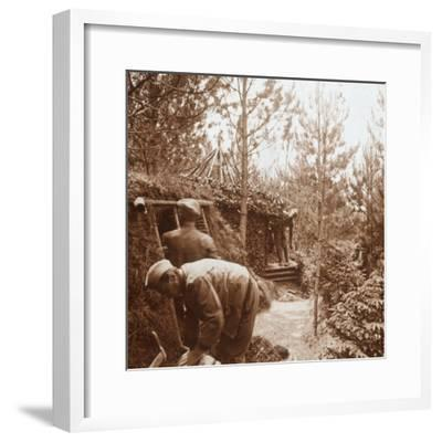 Soldiers in earth-covered shelters, Genicourt, northern France, c1914-c1918-Unknown-Framed Photographic Print