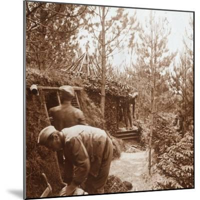Soldiers in earth-covered shelters, Genicourt, northern France, c1914-c1918-Unknown-Mounted Photographic Print