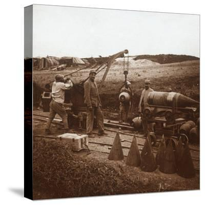 Moving shells with crane, Genicourt, northern France, c1914-c1918-Unknown-Stretched Canvas Print