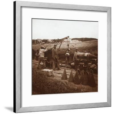 Moving shells with crane, Genicourt, northern France, c1914-c1918-Unknown-Framed Photographic Print