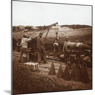 Moving shells with crane, Genicourt, northern France, c1914-c1918-Unknown-Mounted Photographic Print