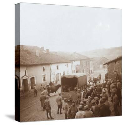 Truck and heavy artillery, Genicourt, northern France, c1914-c1918-Unknown-Stretched Canvas Print