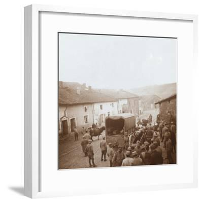 Truck and heavy artillery, Genicourt, northern France, c1914-c1918-Unknown-Framed Photographic Print
