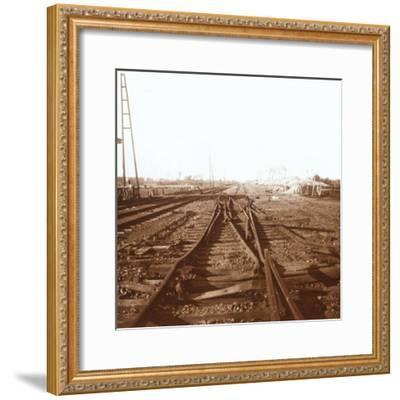 Destroyed railway tracks, Roeselare, Flanders, Belgium, c1914-c1918-Unknown-Framed Photographic Print