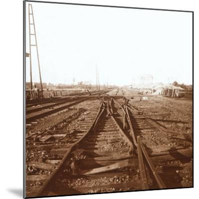 Destroyed railway tracks, Roeselare, Flanders, Belgium, c1914-c1918-Unknown-Mounted Photographic Print