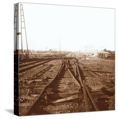 Destroyed railway tracks, Roeselare, Flanders, Belgium, c1914-c1918-Unknown-Stretched Canvas Print