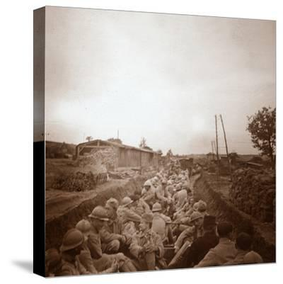 Troops in open train carriages, Genicourt, northern France, c1914-c1918-Unknown-Stretched Canvas Print