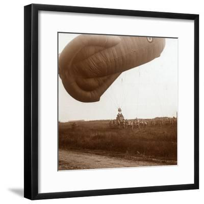 Raising of barrage balloon with basket for observation, c1914-c1918-Unknown-Framed Photographic Print