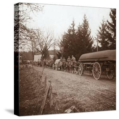 Transporting pontoons, Somme, northern France, c1914-c1918-Unknown-Stretched Canvas Print