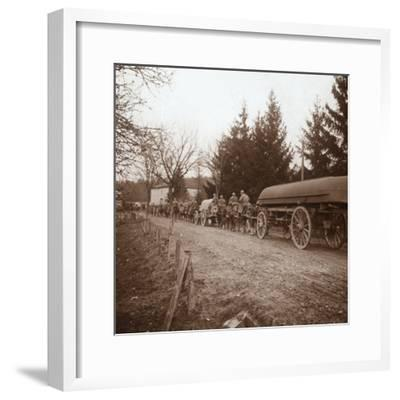 Transporting pontoons, Somme, northern France, c1914-c1918-Unknown-Framed Photographic Print