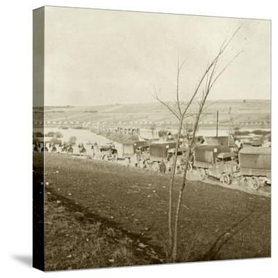 Column of trucks on the Voie Sacrée, Verdun, northern France, c1914-c1918-Unknown-Stretched Canvas Print