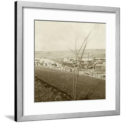 Column of trucks on the Voie Sacrée, Verdun, northern France, c1914-c1918-Unknown-Framed Photographic Print
