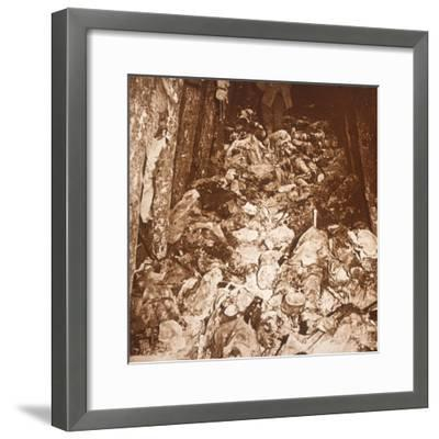 Bodies in tunnels under Mount Cornillet, Champagne, northern France, c1917-Unknown-Framed Photographic Print