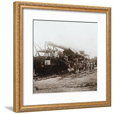 African troops and heavy artillery, Champagne, northern France, c1914-c1918-Unknown-Framed Photographic Print