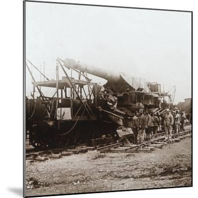 African troops and heavy artillery, Champagne, northern France, c1914-c1918-Unknown-Mounted Photographic Print
