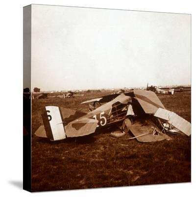 Crashed plane, c1914-c1918-Unknown-Stretched Canvas Print