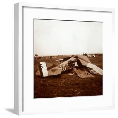 Crashed plane, c1914-c1918-Unknown-Framed Photographic Print