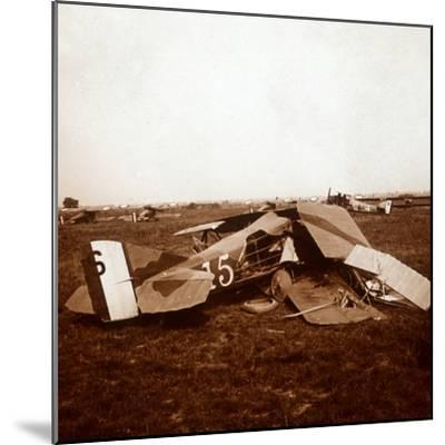 Crashed plane, c1914-c1918-Unknown-Mounted Photographic Print