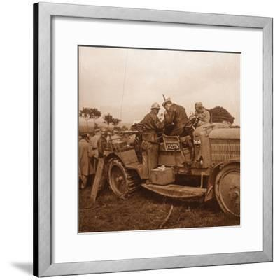 Use of the winch for barrage balloon, Somme, northern France, c1914-c1918-Unknown-Framed Photographic Print