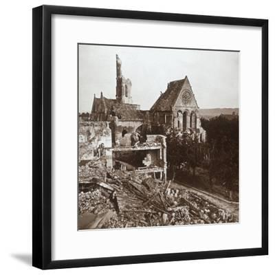 Ruined church, Vauxaillon, northern France, c1914-c1918-Unknown-Framed Photographic Print