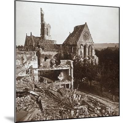 Ruined church, Vauxaillon, northern France, c1914-c1918-Unknown-Mounted Photographic Print
