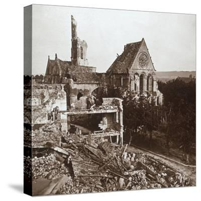 Ruined church, Vauxaillon, northern France, c1914-c1918-Unknown-Stretched Canvas Print