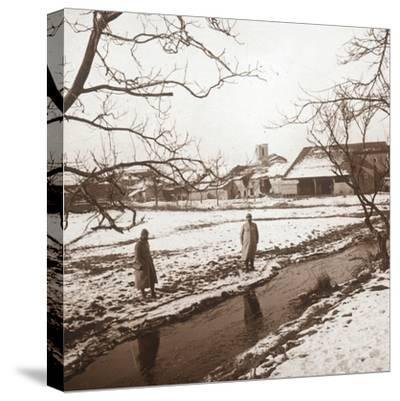Soldiers by a river, Bernecourt, northern France, c1914-c1918-Unknown-Stretched Canvas Print