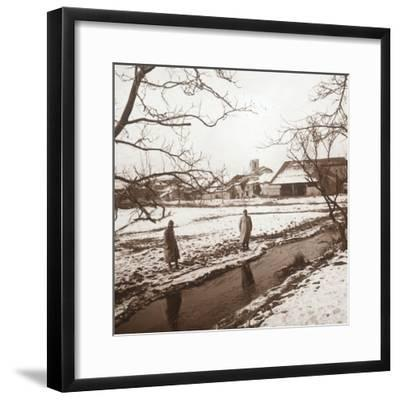 Soldiers by a river, Bernecourt, northern France, c1914-c1918-Unknown-Framed Photographic Print