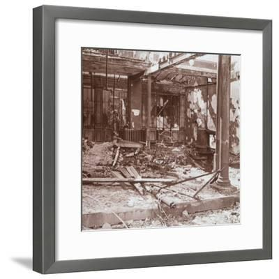 Interior of café, Albert, northern France, c1914-c1918-Unknown-Framed Photographic Print