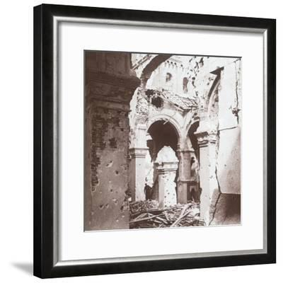 Ruined church, Albert, northern France, c1914-c1918-Unknown-Framed Photographic Print