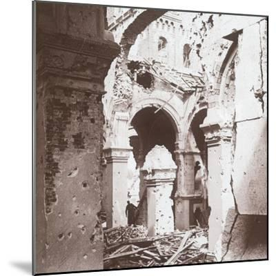 Ruined church, Albert, northern France, c1914-c1918-Unknown-Mounted Photographic Print