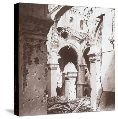 Ruined church, Albert, northern France, c1914-c1918-Unknown-Stretched Canvas Print