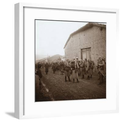 Troops with packs on backs, Somme, northern France, c1914-c1918-Unknown-Framed Photographic Print