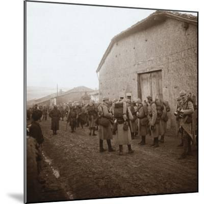 Troops with packs on backs, Somme, northern France, c1914-c1918-Unknown-Mounted Photographic Print