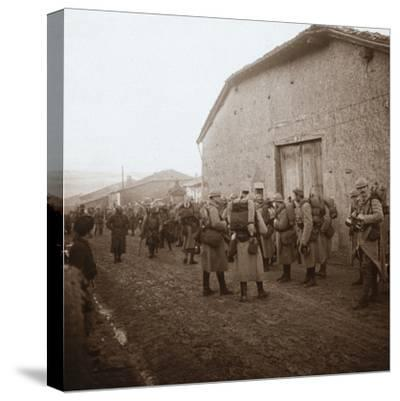 Troops with packs on backs, Somme, northern France, c1914-c1918-Unknown-Stretched Canvas Print