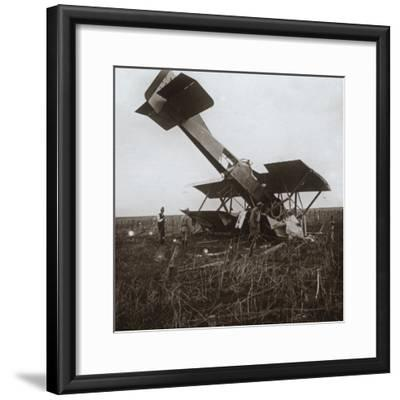 Crashed plane, Tracy-le-Val, northern France, c1914-c1918-Unknown-Framed Photographic Print