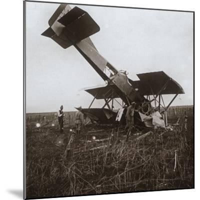 Crashed plane, Tracy-le-Val, northern France, c1914-c1918-Unknown-Mounted Photographic Print