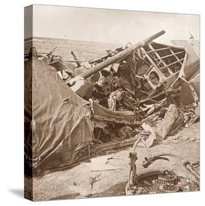 Crashed plane, Sainte-Marie-à-Py, northern France, c1914-c1918-Unknown-Stretched Canvas Print