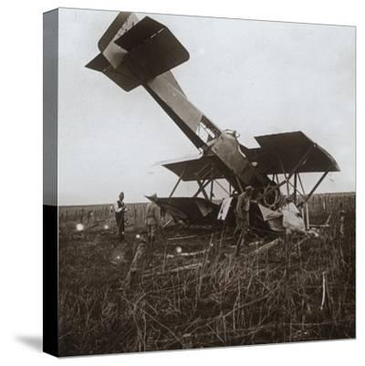 Crashed plane, Tracy-le-Val, northern France, c1914-c1918-Unknown-Stretched Canvas Print