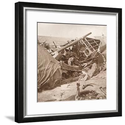 Crashed plane, Sainte-Marie-à-Py, northern France, c1914-c1918-Unknown-Framed Photographic Print
