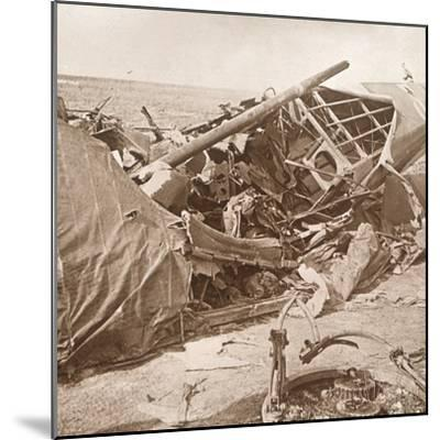 Crashed plane, Sainte-Marie-à-Py, northern France, c1914-c1918-Unknown-Mounted Photographic Print