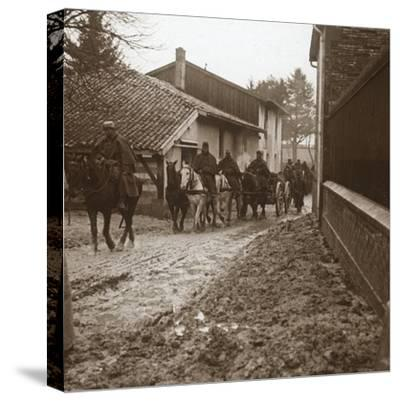 Mounted French soldiers with artillery, c1914-c1918-Unknown-Stretched Canvas Print
