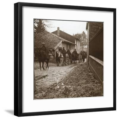Mounted French soldiers with artillery, c1914-c1918-Unknown-Framed Photographic Print